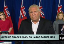 Ontario premier Doug Ford announces the extension of restrictions on unmonitored and private social gatherings to the entire province at a media conference at Queen's Park on September 19, 2020, along with associate chief medical officer of health Dr. Barbara Yaffe and health minister Christine Elliott. (CPAC screenshot)