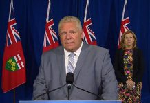 "At a media conference at Queen's Park on September 22, 2020, Ontario Premier Doug Ford and health minister Christine Elliott announced ""the largest and most comprehensive flu shot campaign in Canada's history"" as the first element of the province's COVID-19 fall preparedness plan, entitled ""Keeping Ontarians Safe: Preparing for Future Waves of COVID-19"". (CPAC screenshot)"