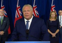 Ontario Premier Doug Ford announces new social gathering restrictions in Toronto, Ottawa, and Peel Region during a media conference at Queen's Park on September 17, 2020, along with municipal affairs and housing minister Steve Clark, health minister Christine Elliott, and chief medical officer of health Dr. David Williams. (CPAC screenshot)