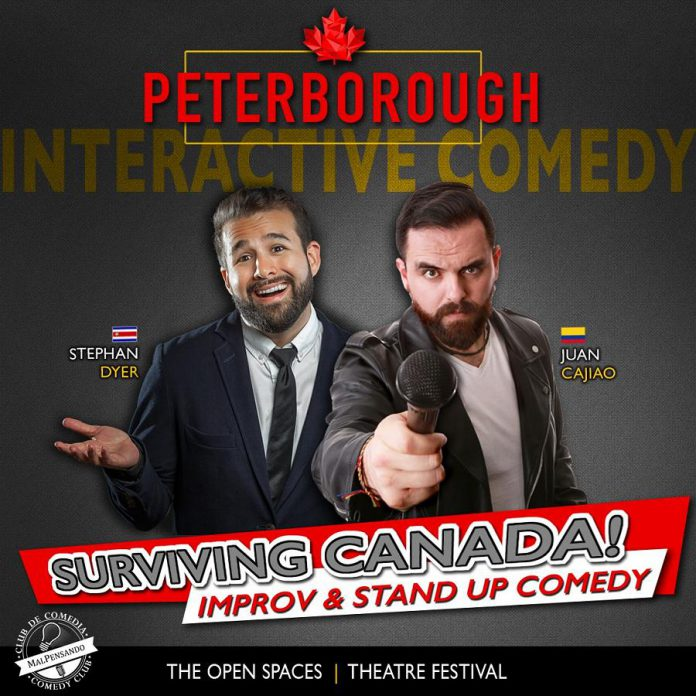 """""""Surviving Canada"""", an interactive comedy show by Stephan Dyer and Juan Cajiao, is one of five live performances that will be staged during the Open Spaces Theatre Festival from September 24 to 27, 2020 in outdoor spaces in downtown Peterborough. (Graphic courtesy of Open Stages Theatre Festival)"""
