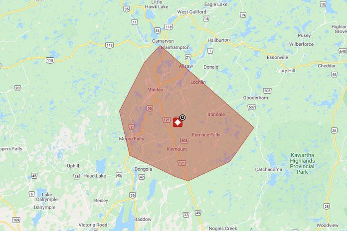 The area affected by the planned power outage on September 27, 2020. (Map: Hydro One)