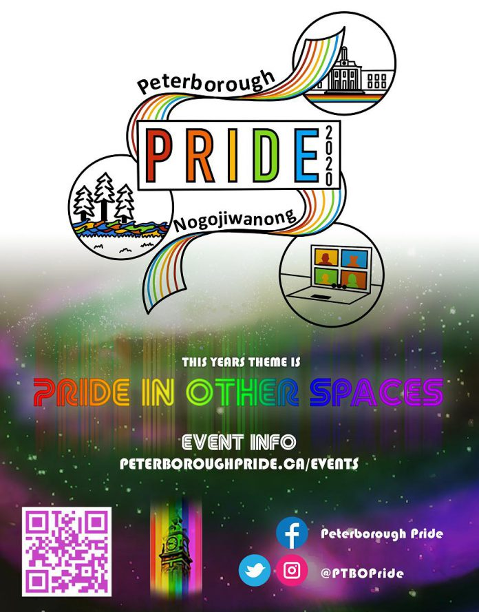 "The theme of the year's virtual Peterborough Pride Week is ""Pride in Other Spaces"", as the COVID-19 pandemic means there can be no Pride parade or large public gatherings. People are encouraged to show their ""Pride in Other Spaces"" by flying Pride-related flags  or by decorating their homes and businesses to signal that they are a part of a welcoming community where nobody needs to feel isolated or unsafe. (Graphic courtesy of Peterborough Pride)"