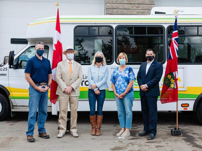 Kawartha Lakes Deputy Mayor Pat O'Reilly, Ontario Minister of Infastructure and Communities Catherine McKenna, Ontario Minister of Infrastructure and Haliburton-Kawartha Lakes-Brock MPP Laurie Scott, and Haliburton-Kawartha Lakes-Brock MP Jamie Schmale at a September 18, 2020 announcement of federal and provincial funding for 30 public transit projects in 16 Ontario communities. (Photo: City of Kawartha Lakes / Facebook)