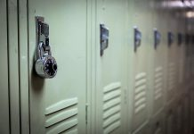A combination lock on a school locker. (Stock photo)