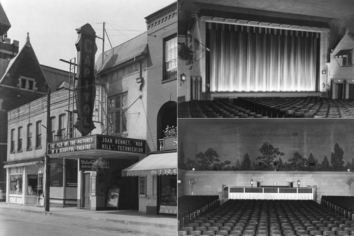 Built in 1930 by Famous Players, the Capitol Theatre in Port Hope is a national historic site and is celebrating its 90th anniversary in 2020.  Pictured is the theatre in 1945, showing the exterior and marquee, a view of the front of the auditorium, and a view of the rear of auditorium including a mural the on back wall. (Photos: Ontario Treasury Department, Motion Picture Censorship Theatre Inspection Branch / Archives of Ontario)