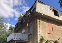 Around 30 residents of TVM Mansions at Hunter Street West and Park Street North in Peterborough have been displaced by an early morning fire on September 20, 2020. A 35-year-old Peterborough woman has been charged with arson and attempted murder in relation to the fire. (Photo: Steve Wilson, Assistant Deputy Fire Marshal, Ministry of the Solicitor General / Twitter)