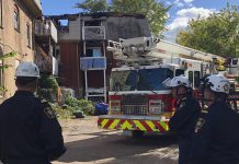 An investigative team from the Ontario Fire Marshal has arrived in Peterborough to assist the Peterborough Police Service and Peterborough Fire Services to determine the origin, cause, and circumstances of an early morning fire on September 20, 2020 at TVM Mansions on Hunter Street West in Peterborough. Police have arrested and charged 35-year-old Kristina Saunders with arson and attempted murder in relation to the fire. (Photo: Steve Wilson, Assistant Deputy Fire Marshal, Ministry of the Solicitor General / Twitter)