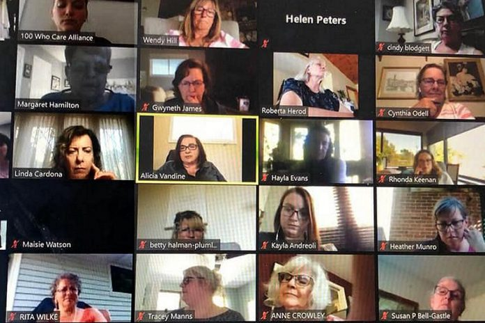 Some of the members of 100 Women Peterborough participating in a Zoom call on October 13, 2020, when they voted to donate member-raised funds to Kawartha Sexual Assault Centre in Peterborough. (Photo courtesy of 100 Women Peterborough)