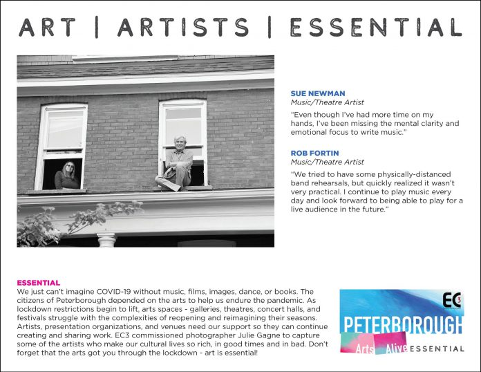 Sue Newman and Rob Fortin, Music/Theatre Artists - The Essential Project. (Photo by Julie Gagne, design by Rob Wilkes)