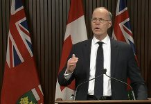 Adalsteinn Brown, dean of the Dalla Lana School of Public Health at the University of Toronto, speaks about updated modelling projections for COVID-19 at a media conference in Queen's Park on October 29, 2020. (CPAC screenshot)
