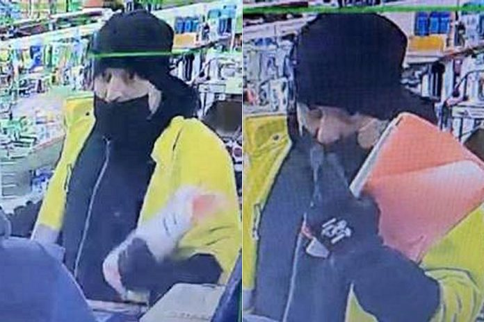 Security camera footage of a suspect in two robbery attempts at convenience stores in Gravenhurst. The same man is believed to be responsible for two robberies at ATMs in Coboconk and Orillia, where he brandished a conducted energy weapon and demanded cash. (Police-supplied photos)