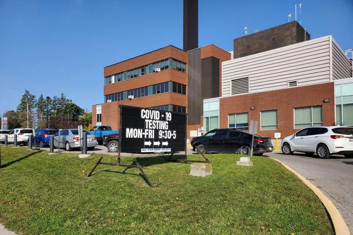 Like other COVID-19 assessment centres across the province, the drive-through centre Ross Memorial Hospital in Lindsay has been experiencing long line-ups. The centre will be switching to an appointment-only model as of October 5, 2020. (Photo: Ross Memorial Hospital)