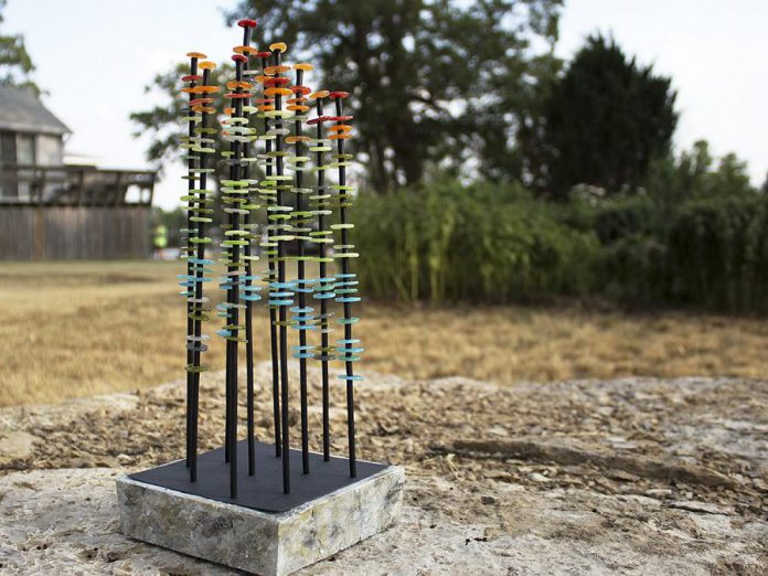 """A maquette of """"Portage"""", a work in glass and steel by Apsley artist Susan Rankin, in the Rain Garden south of Maryboro Lodge (home of the Fenelon Museum) in Fenelon Falls.  The final sculpture, to be installed in the Rain Garden,  is a nod to the region's forests and logging history. It features a series of colourful towers six to eight feet tall. (Photo courtesy of Fenelon Arts Committee)"""
