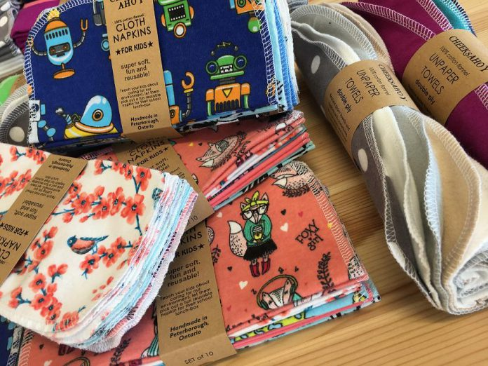 "One way to support a sustainable circular economy is by not buying single-use paper towels and napkins that go straight into the landfill. Instead, consider reusable alternatives like these ""Unpaper Towels"" and cloth napkins, handmade in Peterborough by Cheeks Ahoy and available at the GreenUP Store and Resource Centre. (Photo: Leif Einarson)"