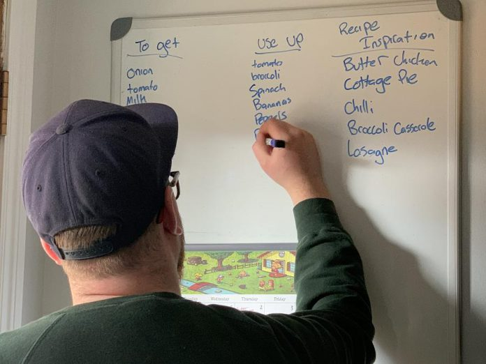 The value of food thrown away in Peterborough City and County each year is approximately $30.6 million. Local chef Tyler Scott's family uses this white board in their kitchen to create lists of things to purchase, items to use up, and inspiration for their weekly meals. This approach helps them to reduce the number of trips they make and also helps to avoid food waste. (Photo: Tyler Scott)