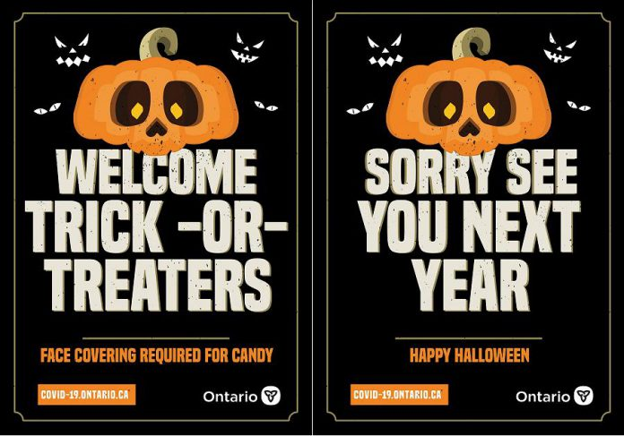 The Ontario government has provided these posters so people can let their neighbours know whether they are participating in Halloween this year. If you do want to give out treats, Ontario's chief medical officer of health Dr. David Williams recommends handing them out with tongs or similar tools rather than leaving them in a in a bucket or bowl for children to grab, which could spread the virus. (Posters: Ontario government)