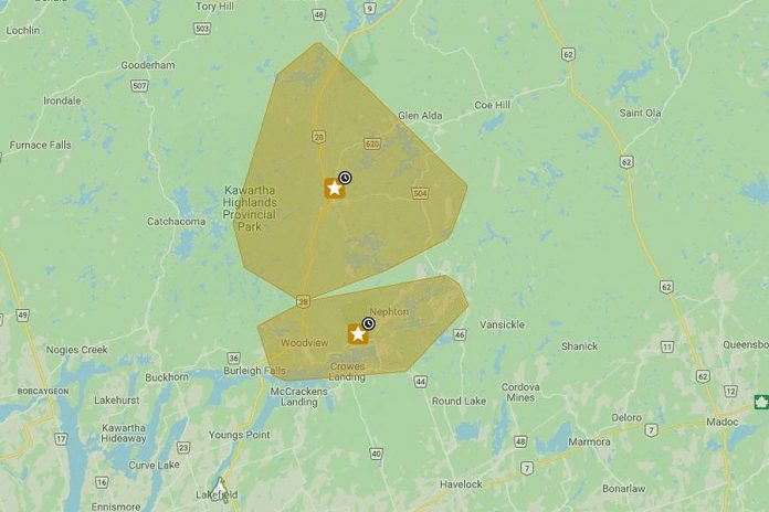 The affected area of Hydro One's planned outage from 8 a.m. to 2 p.m. on October 18, 2020.  (Map: Hydro One)