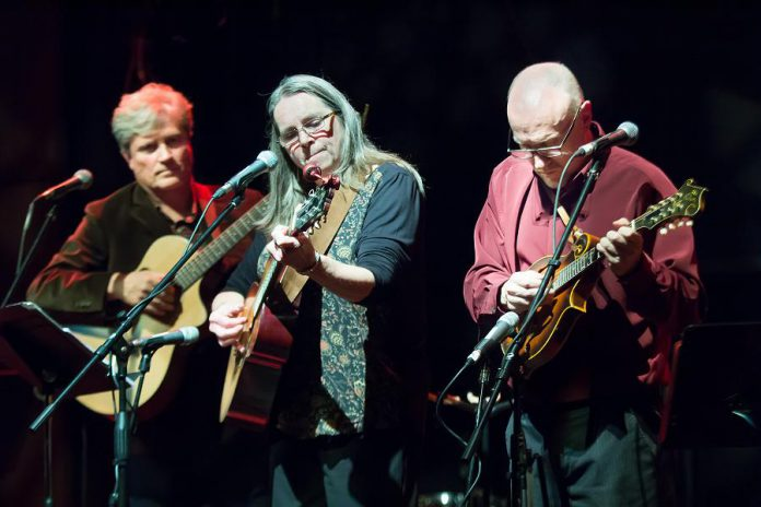 "Rob Fortin, Sue Newman, and John Hoffman, pictured at the 2015 In From The Cold concert at Market Hall Performing Arts Centre in downtown Peterborough, launched In From The Cold in 2000 along with Curtis Driedger (not pictured). Over 20 years, the concert has raised more than $140,000 for Peterborough's YES Shelter for Youth and Families. Listeners will be encouraged to donate to YES during In From The Cold ""At Home"", which will be broadcast and streamed on Trent Radio 92.7 FM on December 11 and 12, 2020. (Photo: Linda McIlwain / kawarthaNOW.com)"