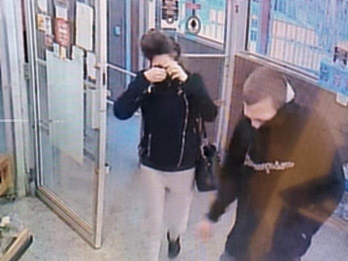 The two suspects in a theft from a William Street grocery store in Lindsay that left an employee with minor injuries. (Police-supplied photo)