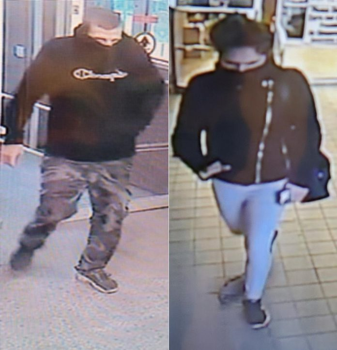 This man and woman are wanted in a theft from a William Street grocery store in Lindsay that left an employee with minor injuries. (Police-supplied photos)