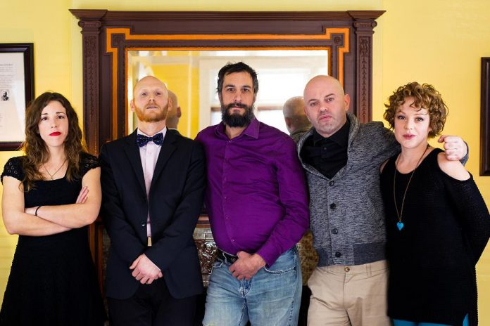 "A 2018 promotional photo for Peterborough's improv and sketch comedy troupe LLAADS, whose name was a acronym of the first names of its six members: Lindsay Unterlander, Adam Wilkinson, Luke Foster, Dan Smith, and Sarah McNeilly. The second ""A"", Adam Martignetti, is behind the camera. The troupe, which has now disbanded, is donating its savings to The Theatre on King, LLAADS' pre-pandemic performance home. (Photo: Adam Martignetti)"