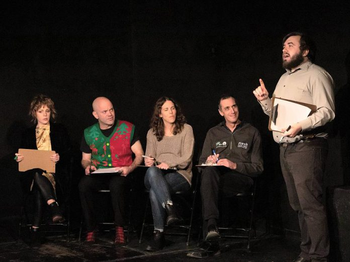 The LLAADS improv and sketch comedy troupe during a pre-pandemic performance at The Theatre on King in downtown Peterborough: a concerned Sarah McNeilly, an incredulous Dan Smith, a napping Lindsay Unterlander, a bemused Luke Foster, a pontificating Adam Martignetti, and a missing Adam Wilkinson.  (Photo: Eryn Lidster)