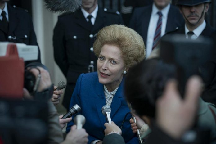 Gillian Anderson (X-Files, The Fall, Sex Education) dons a big wig to perform as Prime Minister Margaret Thatcher in season four of The Crown. (Photo: Netflix)