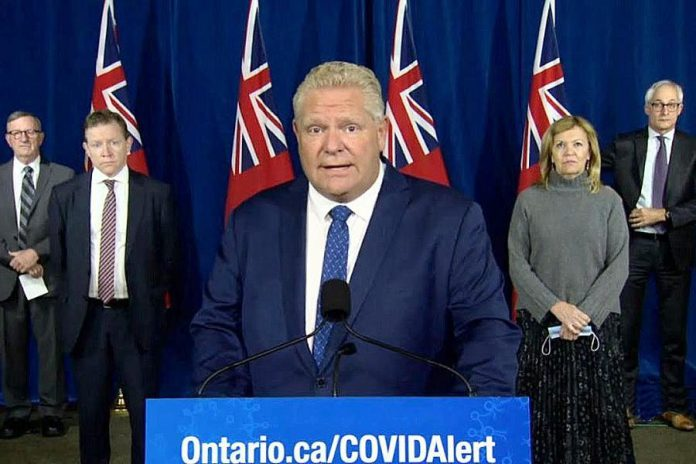 Ontario Premier Doug Ford at a media conference on October 2, 2020 at Queen's Park, along with Ontario's chief medical officer of health Dr. David Williams, Ontario Health president and CEO Matthew Anderson, health minister Christine Elliott, and Ontario's chief coroner and COVID-19 testing lead Dr. Dirk Huyer, where the government announced additional public health restrictions and new testing measures. (CPAC screenshot)