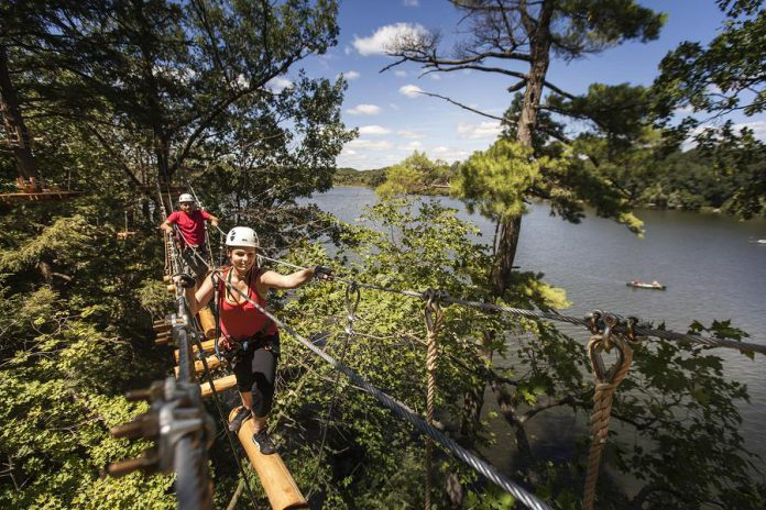 Treetop Trekking, which operates an adventure park at the Ganaraska Forest near Port Hope as well as in Barrie, Brampton, Hamilton, Huntsville, and Stouffville, has been named the 2020 Attraction of The Year Award by Attractions Ontario. (Photo courtesy of Treetop Trekking)