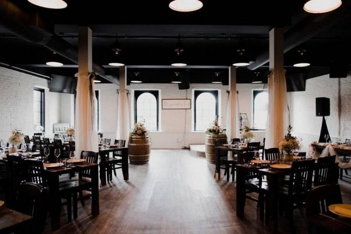 """Lindsay Little Theatre's """"A Night of One Act Plays"""" takes place in Pie Eyed Monk's beautiful and exclusive upper-floor event space, pictured here set up for a pre-pandemic wedding reception. Licensed to accommodate a capacity of 163 guests, the space allows ample room for a small physically distanced audience to enjoy their dinner-theatre experience without any worries. (Photo courtesy of Pie Eyed Monk Brewery)"""