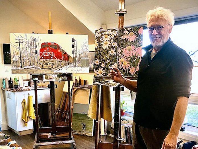 Artist Peer Christensen at work in his studio.  (Photo courtesy of the artist)