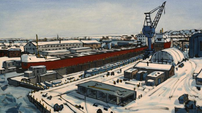 A painting depicting the Port Weller Dry Docks in winter, from Peer Christensen's 'Port Weller Dry Dock Series'. (Photo courtesy of the artist)