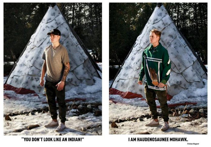 Tristan Nugent, an Indigenous student at Trent University who participated in the 'Breaking Down Stereotypes' photo-based community art project. Created by Trent's First Peoples House of Learning with photographs by Annie Sakkab, the series features different students raising and refuting commonly encountered racist comments, racial microaggressions, and misconceptions about Indigenous peoples. (Photos by Annie Sakkab)