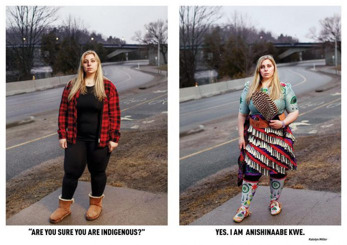 Katelyn Miller, an Indigenous student at Trent University who participated in the 'Breaking Down Stereotypes' photo-based community art project. The project is on display at Artspace in downtown Peterborough until November 14, 2020. (Photos by Annie Sakkab)