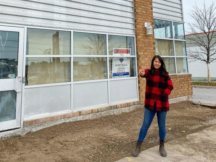 Susan Tung, owner of Vietnamese restaurant Hanoi House in downtown Peterborough, stands outside the planned second location of her restaurant at 1040 Lansdowne Street West. (Photo: Susan Tung / Facebook)