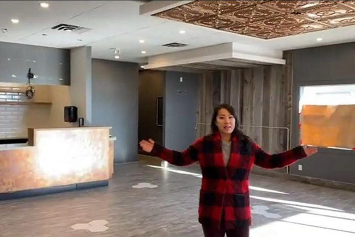 Susan Tung, owner of Vietnamese restaurant Hanoi House in downtown Peterborough, stands inside the planned second location of her restaurant at 1040 Lansdowne Street West.  It's the former location of Copper Branch, a franchise of the plant-based restaurant chain that closed earlier this year. (YouTube screenshot)