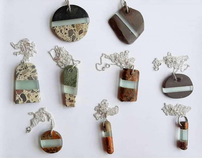 Some of artist Christy Haldane's hanging stone-and-glass pendants, which are available online at her website. A selection of the pendants will also be available at the Art Gallery of Peterborough's gallery shop in late November.  (Photo courtesy of Christy Haldane)