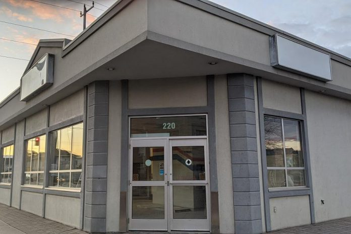 A consumption and treatment services site, to help prevent drug overdoes and deaths, is being proposed at 220 Simcoe Street in downtown Peterborough. While an application for provincial funding is being developed, organizations involved in the initiative are raising funds so they can retain the location, cover the cost of professional studies to support the funding application, and cover the cost of renovations to operate the site. (Photo: Bruce Head / kawarthaNOW.com)