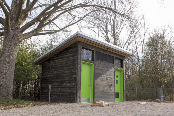 Community donations to GreenUP in 2019 supported the completion of this low-impact barrier-free washroom at Ecology Park in Peterborough. This washroom ensures that Ecology Park can accommodate all of its school classes, community groups, and visitors in the future. (Photo: Leif Einarson)