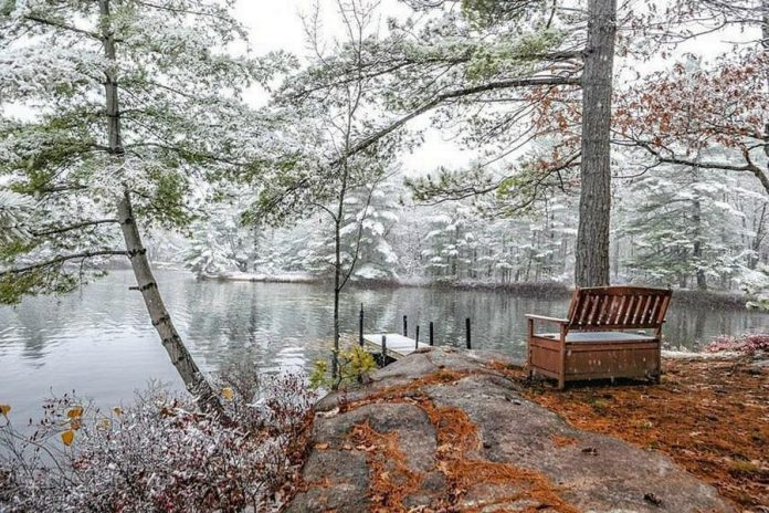This photo of the season's first snow on Kasshabog Lake in Peterborough County is one of a series by Mike Quigg that was our top post on Instagram in October 2020. Mike's photos of fall on Kasshabog Lake also topped our Instagram in September. (Photo: Mike Quigg @_evidence_ / Instagram)