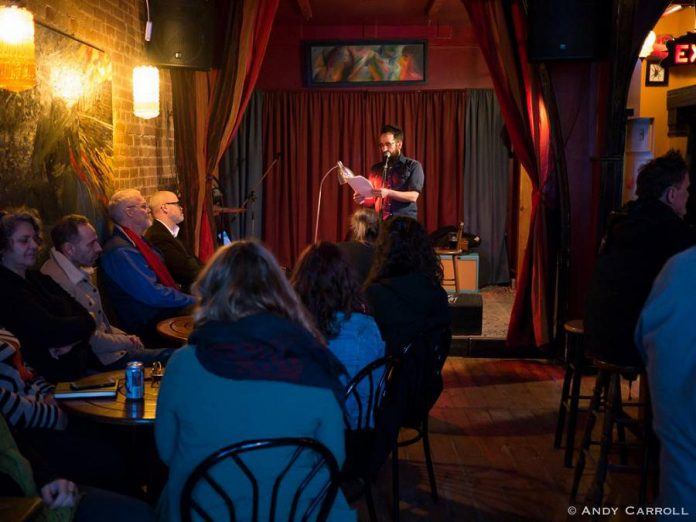 Poet Justin Million, the 2020 Downtown Artist in Residence, performing at the Show and Tell Poetry Series Showcase at The Garnet in downtown Peterborough in April 2019. (Photo: Andy Carroll)