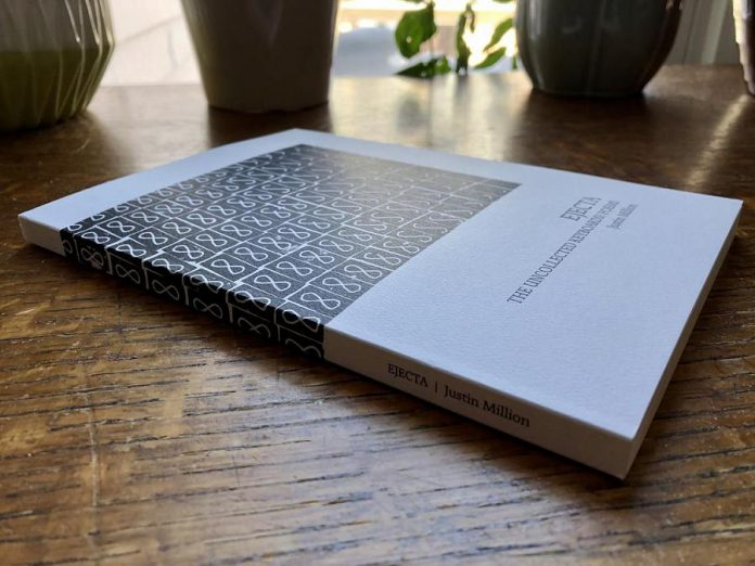 "Justin Million's book ""Ejecta: The Uncollected KEYBOARDS! Poems "", available from Apt 9 Press, contains 132 poems from Million's KEYBOARDS! events that were not collected by members of the audience at the end of the events. (Photo: Apt 9 Press)"