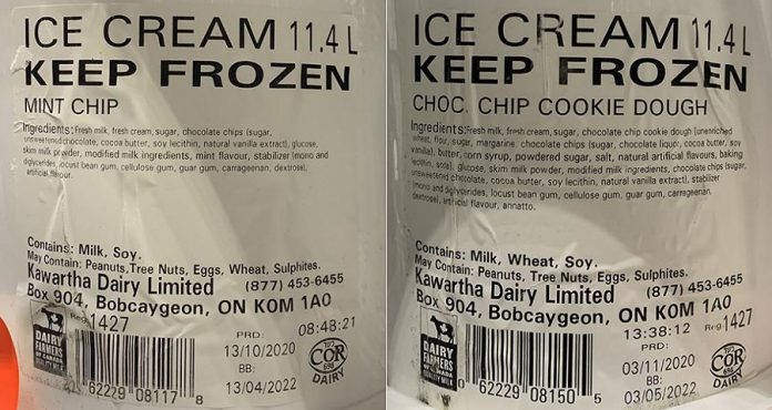Restaurants and institutions using Kawartha Dairy's Mint Chip Ice Cream or Chocolate Chip Cookie Dough Ice Cream should check the tubs for specific production codes to see if the ice cream has been recalled. Kawartha Dairy is recalling the production codes because of the possibility that chocolate chips used in the ice cream may include small pieces of metal. (Supplied photos)