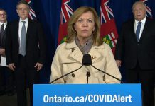 "At a media conference at Queen's Park on November 20, 2020, Ontario health minister Christine Elliott announced Peterborough Public Health region will be moving into the ""yellow-protect"" level effective November 23, 2020. Toronto and Peel Region will be moving into the most restrictive lockdown level. (CPAC screenshot)"