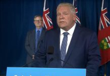 Ontario Premier Doug Ford announcing on November 19, 2020 at Queen's Park that more stringent public health measures will be introduced in the province on Friday, especially in the regions hardest hit by COVID-19. (Premier's Office screenshot)