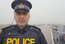 Kawartha Lakes OPP Sgt. Jason Folz in a Facebook video advising of the critical incident on the morning of November 26, 2020 on Pigeon Lake Road near Lindsay. It was later revealed that a young boy died and an OPP officer was seriously injured during the incident. A suspect has been apprehended and there are no concerns for public safety. (Screenshot)