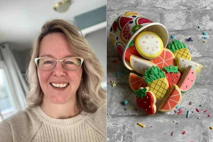 Janette Fluke and a sample of her custom-designed sugar cookies. (Photos: Florna Sweets / Facebook)