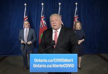 Ontario Premier Doug Ford during a Queen's Park media conference on November 25, 2020, announcing the province's public health advice on safely celebrating the holiday season. (CPAC screenshot)