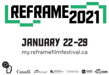 Peterborough's 2021 ReFrame Film Festival runs for a full week from January 22nd to 29th, with virtual screening of films. For the first time ever, the festival films will be available for anyone in Ontario to watch, after purchasing a festival pass or tickets. (Poster design: Jordan Bowden)