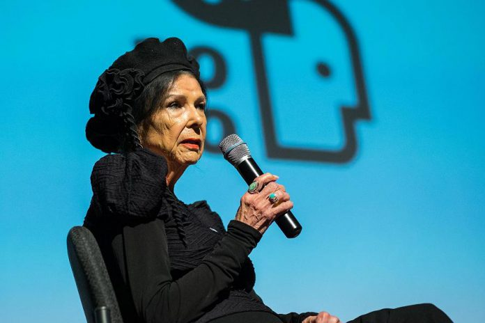 Legendary Abenaki documentarian and ReFrame 2020 special guest, Alanis Obomsawin, speaking at Showplace Performance Centre in downtown Peterborough in January 2020. While there will be no in-person events at the 2021 ReFrame Film Festival, the festival will still feature virtual filmmaker talks, panel discussions, workshops,  and more. (Photo: Matthew Hayes)